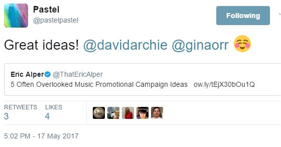 pastel tweet promo ideas article hyperbot to David and Gina