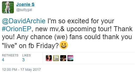 tweet suttygal DavidArchie fb live request