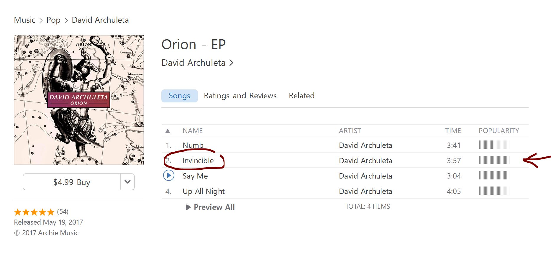 us itunes most plays orion