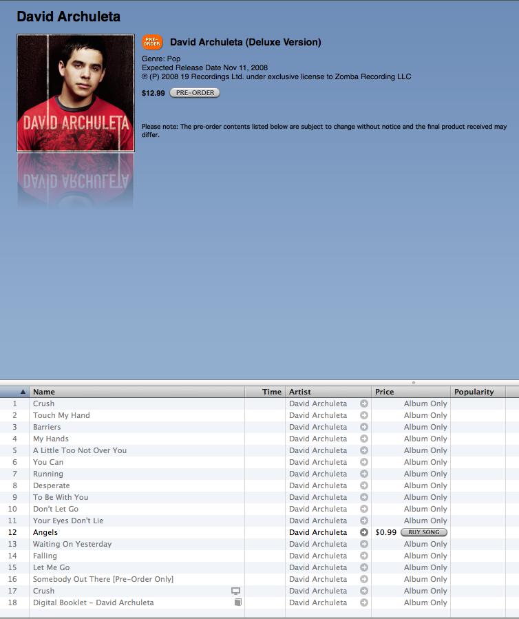 david archuleta 2008 full album download