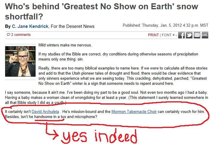 no snow - Fans of David ArchuletaFans of David Archuleta