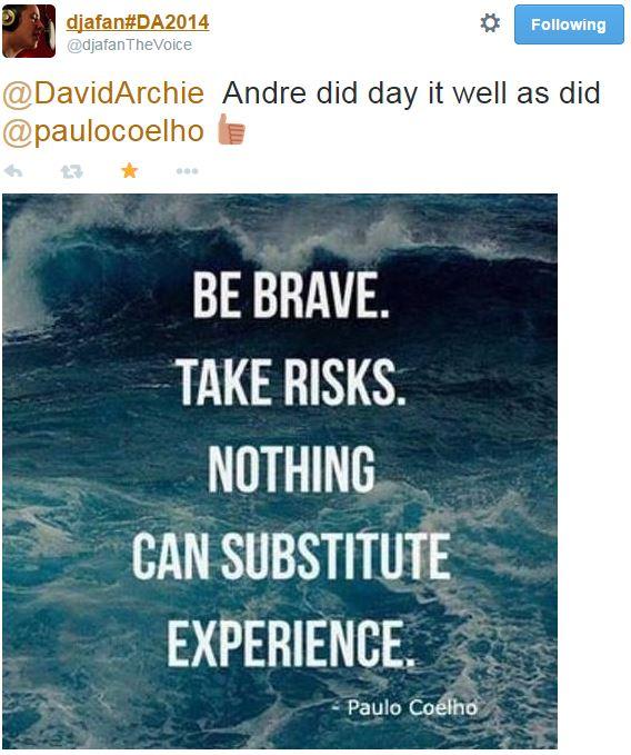 tweet DJfan re Andre's quote