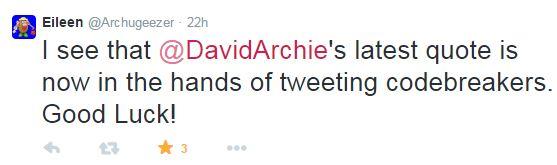 tweet Eileen code breaker re David's tweet