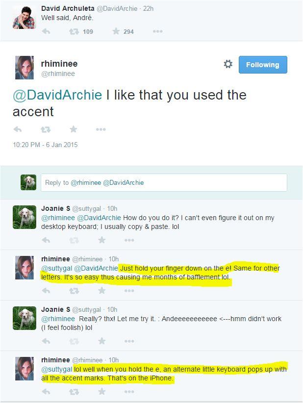 tweet Tina and me accent convo