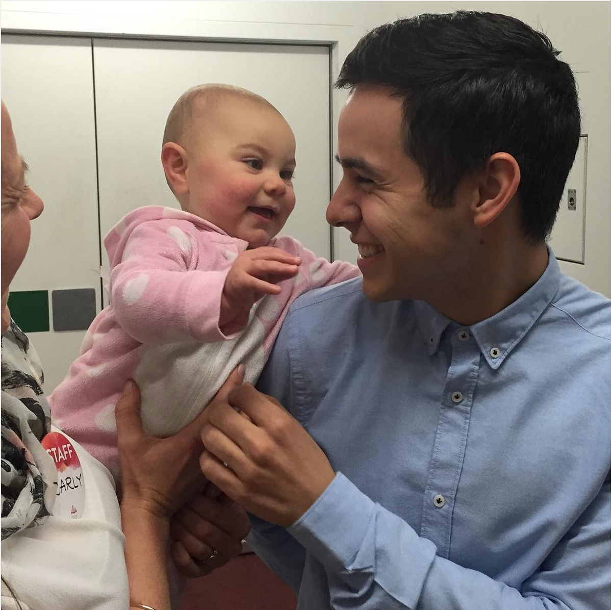 A baby coos at David Archuleta at Time Out for Woman event in August 2015