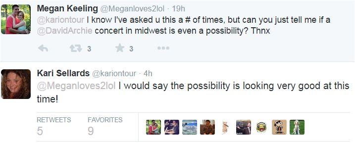 Tweet Kari with Meagan re David to the midwest