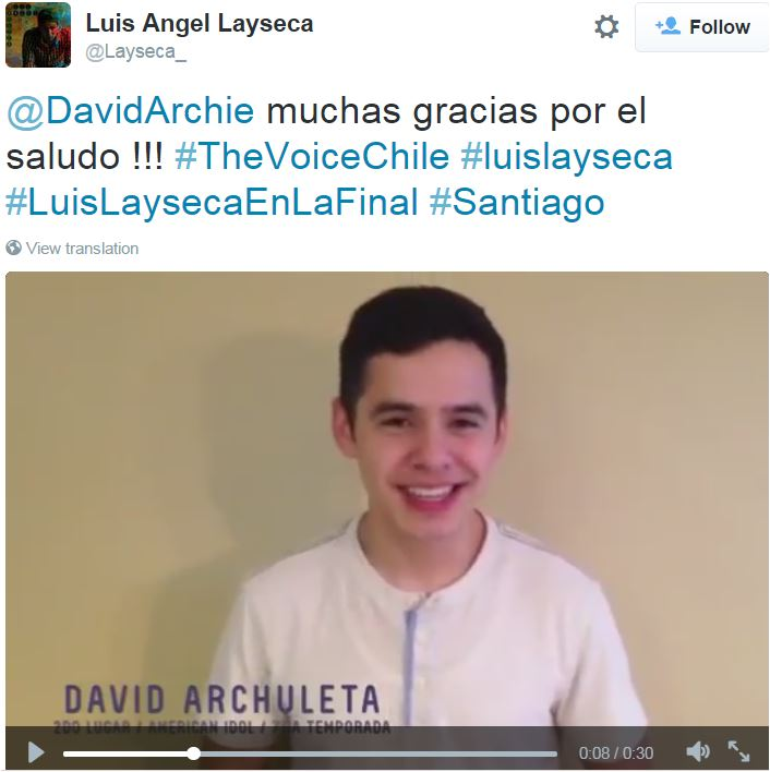 tweet David speaks about Luis Layseca on The Voice Chile