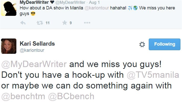 tweet KAri with MDW new show in Philippines