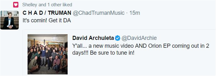 david Archuleta Up All night UAN tweet chad truman