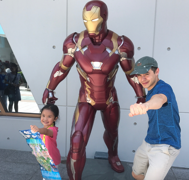 David Archuleta Hong Kong Disney with Ironman and a little friend