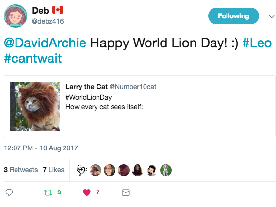 tweet from Debz416 re World Lion Day and Leo Ep