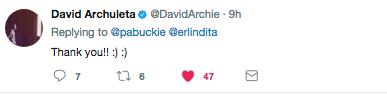 Kalei tweets about David in Canada as he shares a Hawaiian Hula Dancer.