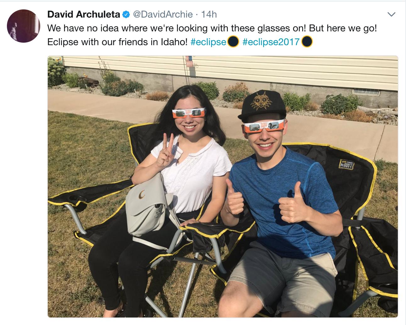 David Archuleta Tweet Eclipse Watch in Idaho
