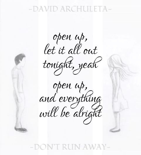 Graphics from Jessica showing David Archuleta's Don't Run Away and parts of the video