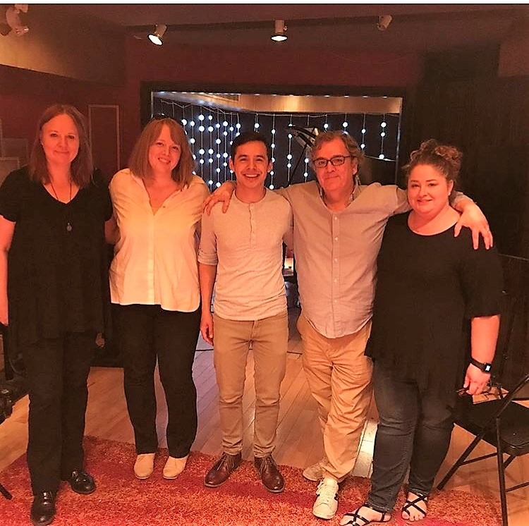 The CymbaMusic and David Archuleta team pose for a picture at the Orange Lounge Music Studio in Toronto, August 16 2017