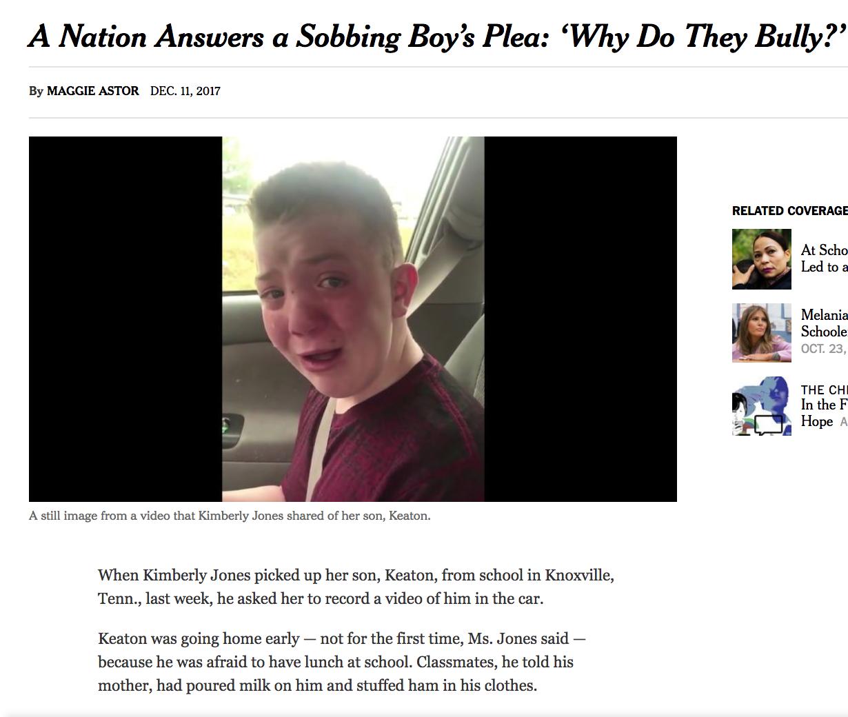 Keaton Jones article re bullying