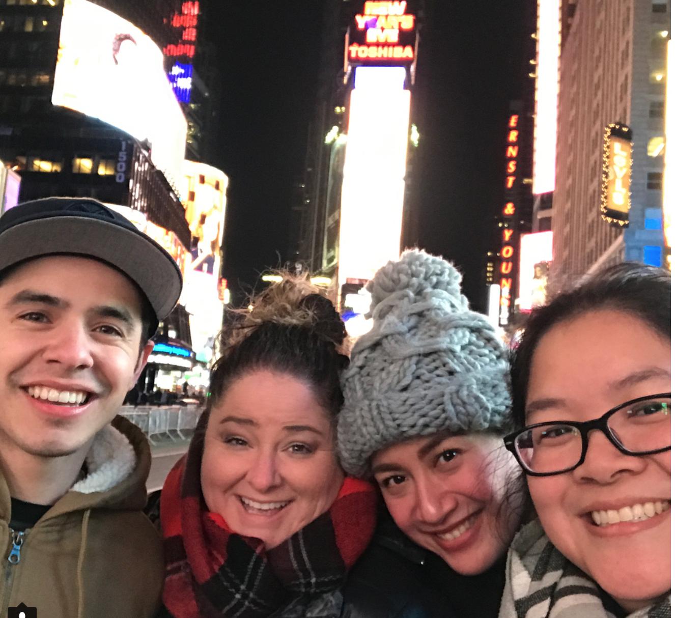 David Archuleta Kari Sellards Ana Feleo and Christina in NYC 12-11-2017