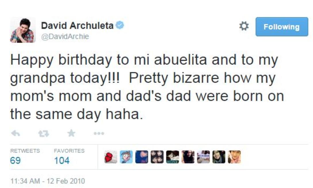 David Archuleta Birthday tweet to Abuelita and Grandpa