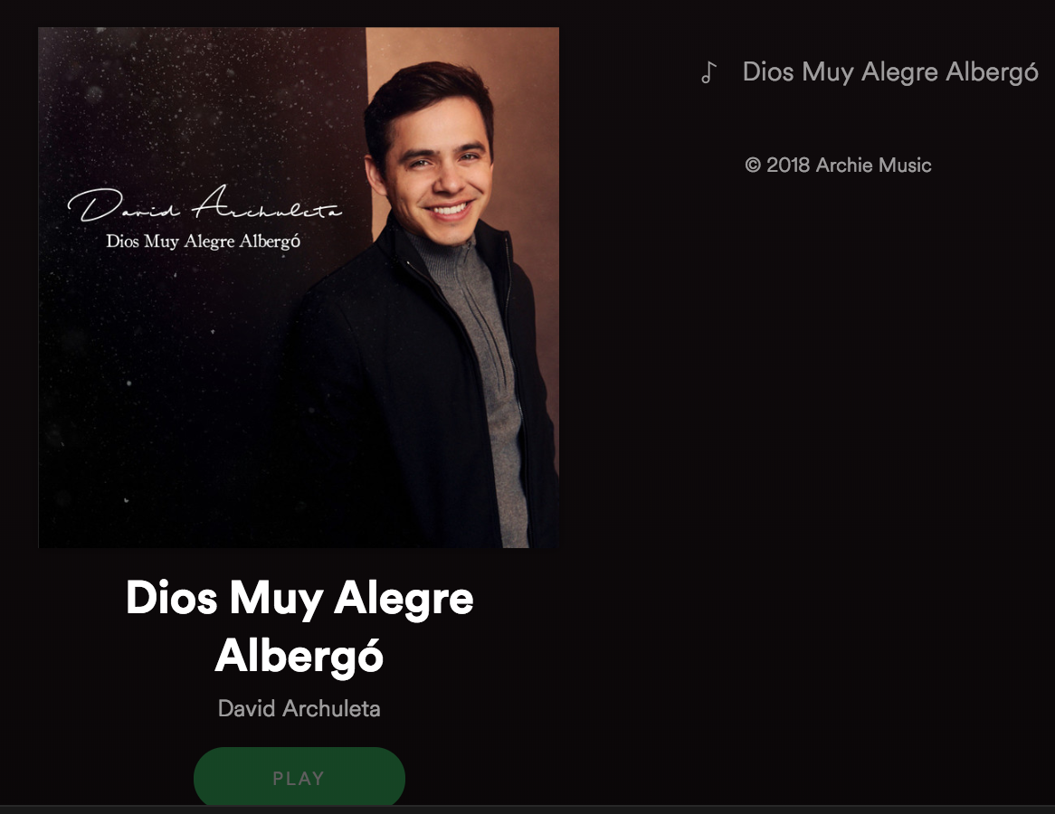 Spotify David Archuleta Dios Muy Alego Albergó - God Rest Ye Merry Gentlemen